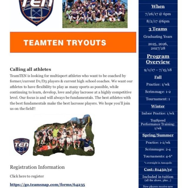 Calling all athletes!! TeamTEN Tryout information  see you onhellip